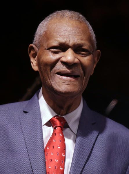 FILE - This July 6, 2017 file photo shows pianist McCoy Tyner after performing at the botanical Garden Citta' Studi, in Milan, Italy. The groundbreaking and influential jazz pianist and the last surviving member of the John Coltrane Quartet, has died, his family said on Friday, March 6, 2020. He was 81. (AP Photo/Luca Bruno, FIle)