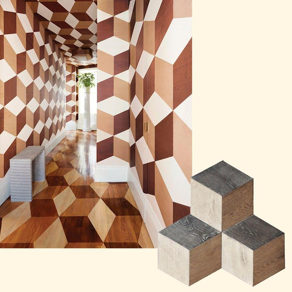 "<p>Designer David ­Kaihoi created a hand-stained faux- marquetry tumbling-blocks pattern on the floors of his <a href=""https://www.elledecor.com/design-decorate/house-interiors/a20066623/david-kaoihoi-east-side-tour/"" rel=""nofollow noopener"" target=""_blank"" data-ylk=""slk:New York apartment"" class=""link rapid-noclick-resp"">New York apartment</a>. To get the look, try ZEP13 Wood Parquet from <a href=""http://tabarkastudio.com/"" rel=""nofollow noopener"" target=""_blank"" data-ylk=""slk:tabarkastudio.com"" class=""link rapid-noclick-resp"">tabarkastudio.com</a>.</p>"