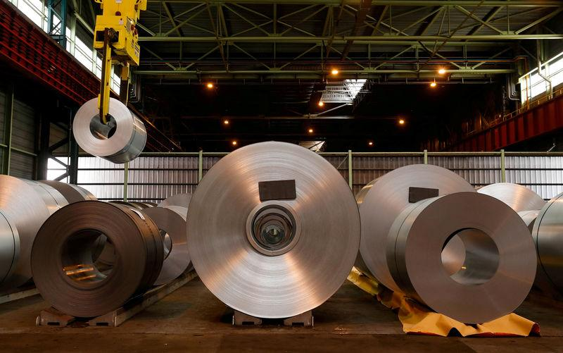 Metal coils are seen at ArcelorMittal steel plant in Ghent