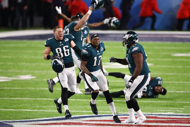 <p>Zach Ertz #86 and Alshon Jeffery #17 of the Philadelphia Eagles celebrate defeating the New England Patriots 41-33 in Super Bowl LII at U.S. Bank Stadium on February 4, 2018 in Minneapolis, Minnesota. (Photo by Gregory Shamus/Getty Images) </p>