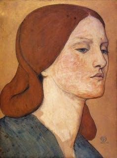 """<span class=""""caption"""">Elizabeth Siddal, painted by Dante Gabriel Rosetti.</span> <span class=""""attribution""""><a class=""""link rapid-noclick-resp"""" href=""""https://commons.wikimedia.org/wiki/File:Dante_Gabriel_Rossetti_-_Elizabeth_Siddal_(1850-65).jpg"""" rel=""""nofollow noopener"""" target=""""_blank"""" data-ylk=""""slk:Dante Gabriel Rossetti, Fitzwilliam Museum"""">Dante Gabriel Rossetti, Fitzwilliam Museum</a>, <a class=""""link rapid-noclick-resp"""" href=""""http://creativecommons.org/licenses/by/4.0/"""" rel=""""nofollow noopener"""" target=""""_blank"""" data-ylk=""""slk:CC BY"""">CC BY</a></span>"""
