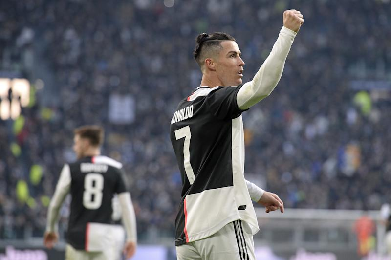 TURIN, ITALY - JANUARY 06: Cristiano Ronaldo of Juventus celebrates after scoring his third goal during the Serie A match between Juventus and Cagliari Calcio at Allianz Stadium on January 6, 2020 in Turin, Italy. (Photo by Filippo Alfero - Juventus FC/Juventus FC via Getty Images)