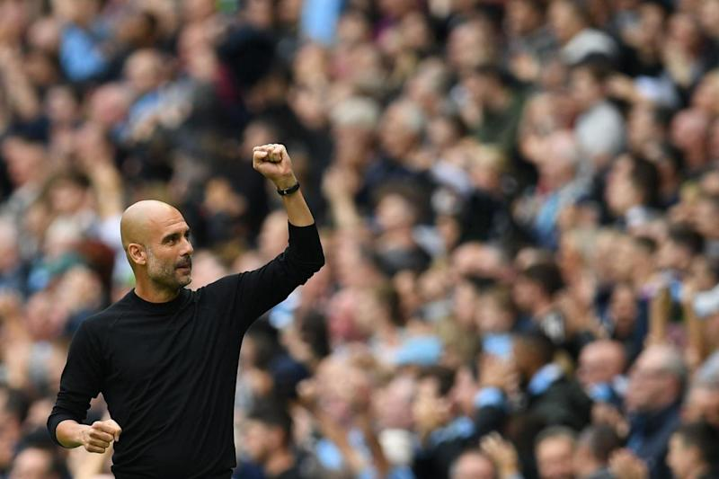 Happy days | Guardiola has an almost fully-fit squad to choose from: AFP/Getty Images/Paul Ellis