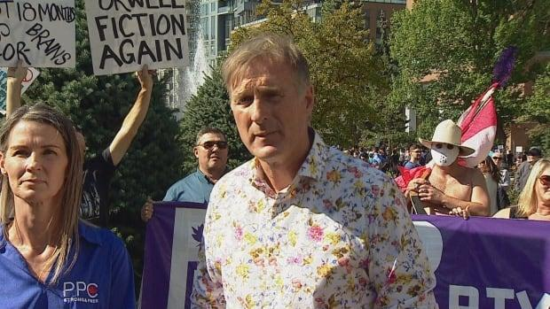 The People's Party of Canada Leader Maxime Bernier attended a rally in Calgary on Saturday.  (Mike Symington/CBC - image credit)