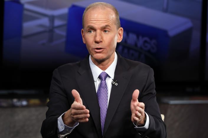"""Boeing CEO Dennis Muilenburg is interviewed by Maria Bartiromo, not pictured, during her """"Mornings with Maria Bartiromo"""" program on the Fox Business Network, in New York, Tuesday, Nov. 13, 2018. (AP Photo/Richard Drew)"""