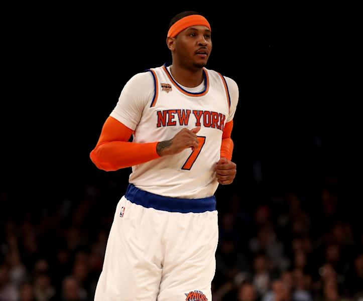 Carmelo Anthony, pictured in February 2017, will leave the New York Knicks after seven seasons to join Russell Westbrook and Paul George at the Oklahoma City Thunder (AFP Photo/ELSA)