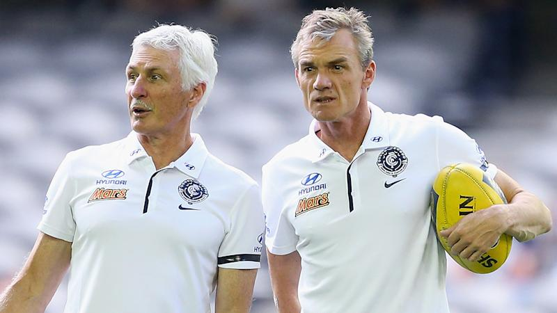 Mick Malthouse and assistant coach Dean Laidley, pictured here at Carlton in 2015.