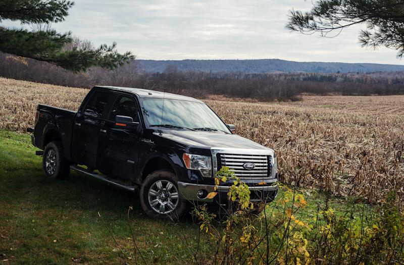 """Aspen, Canada - November 2, 2012: A late model Ford F-150 parked near a field of harvested corn in Nova Scotia's Guysborough County."""