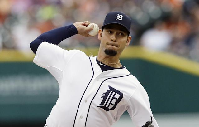 Detroit Tigers starting pitcher Anibal Sanchez throws during the first inning of a baseball game against the Cleveland Indians in Detroit, Friday, July 18, 2014. (AP Photo/Carlos Osorio)