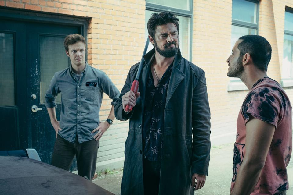 THE BOYS, from left: Jack Quaid, Karl Urban, Tomer Capon, Cherry, (Season 1, ep. 102, aired July 26, 2019). photo: Jan Thijs / Amazon / Courtesy Everett Collection