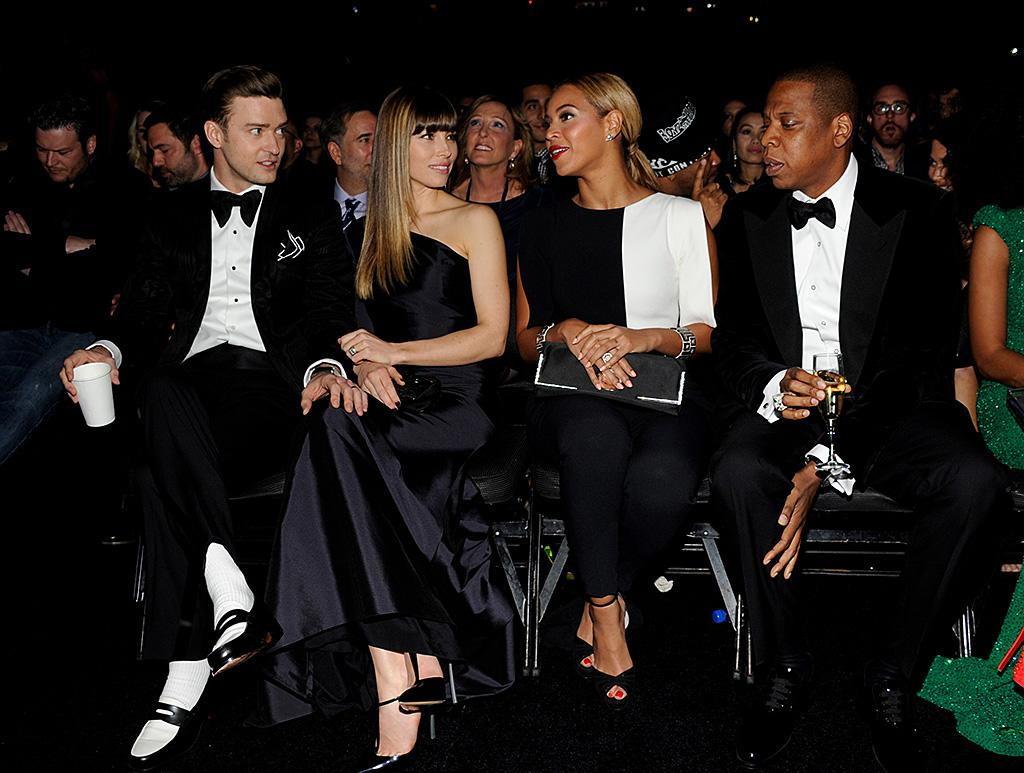 Talk about a power row. Jay-Z and Beyonce were the Grammy royalty alongside Justin Timberlake and Jessica Biel.