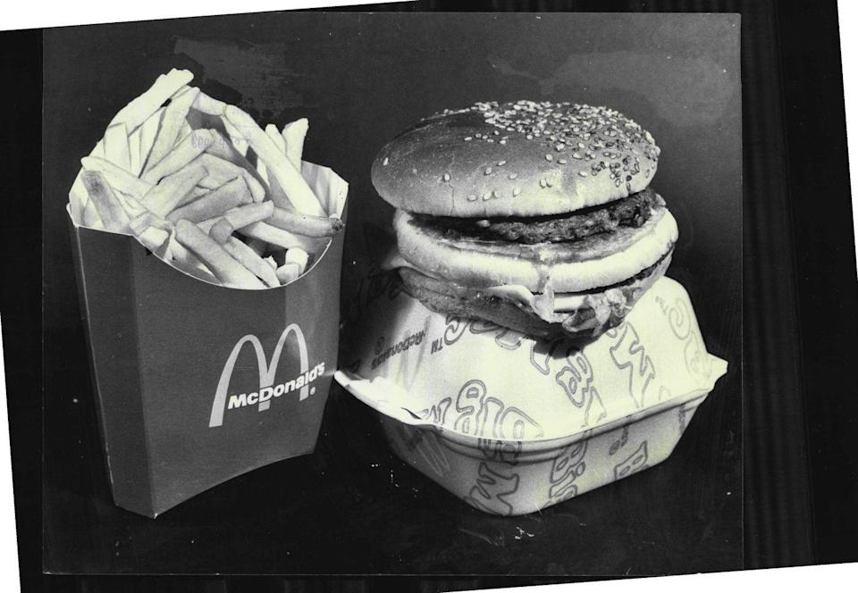 <p>Here's what a McDonald's Big Mac and large fries looked like in the late '70s—all of which would set you back only $1.50.</p>