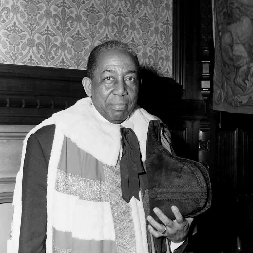 Baron Learie Constantine of Tobago and Nelson at the House of Lords, as he took his seat as Britain's first Black life peer. (Photo: PA)