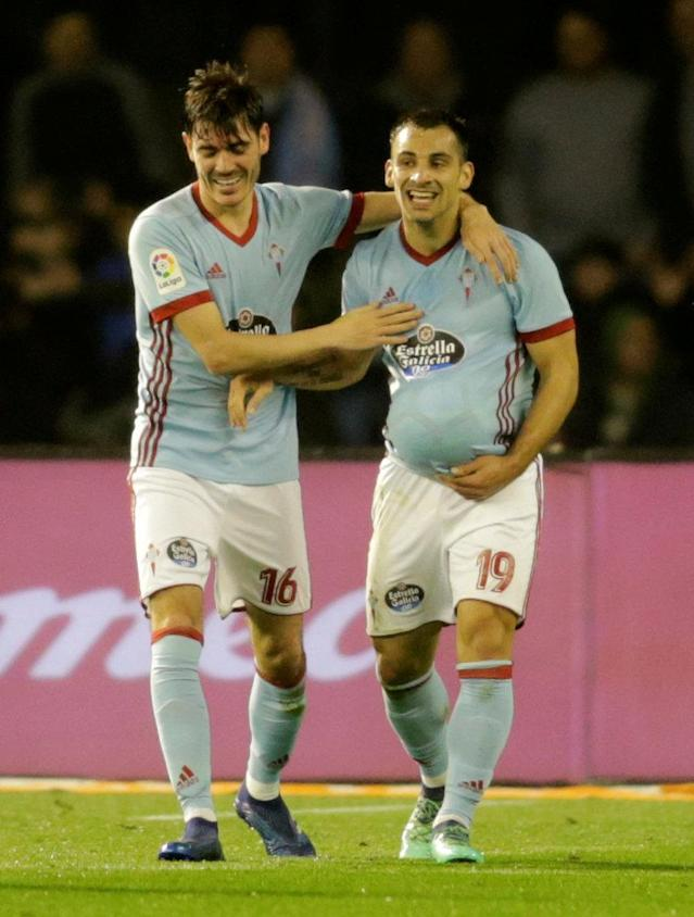 Soccer Football - La Liga Santander - Celta Vigo vs FC Barcelona - Balaidos, Vigo, Spain - April 17, 2018 Celta Vigo's Jonny celebrates scoring their first goal with Jozabed REUTERS/Miguel Vidal