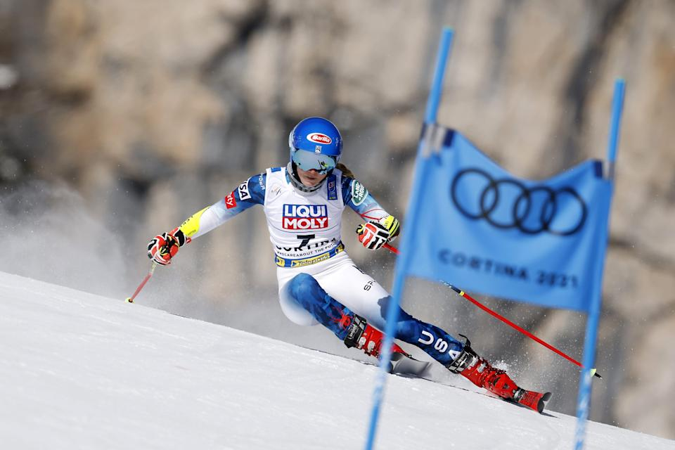 Mikaela Shiffrin wins the gold medal during the FIS Alpine Ski World Championships Women's Giant Slalom on February 18, 2021 in Cortina d'Ampezzo Italy.