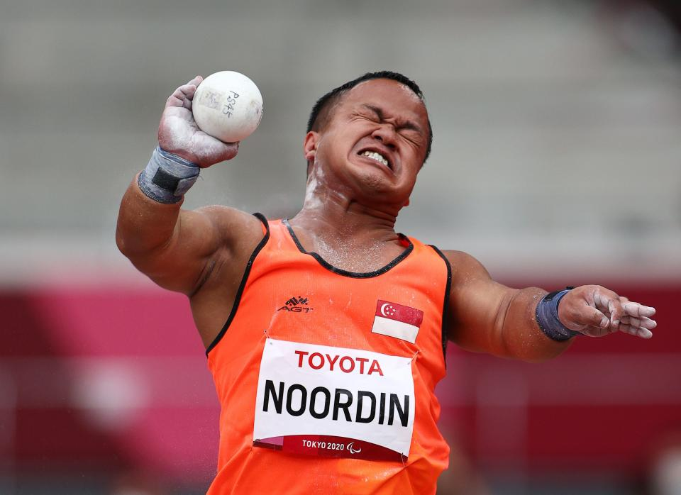 Singapore's Muhammad Diroy Noordin competing in the men's shot put (F40) event at the 2020 Tokyo Paralympics.