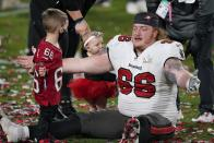 Tampa Bay Buccaneers center Ryan Jensen celebrates after their NFL Super Bowl 55 football game against the Kansas City Chiefs, Sunday, Feb. 7, 2021, in Tampa, Fla. (AP Photo/Gregory Bull)