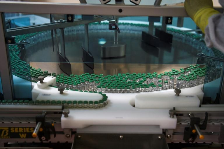 An assembly line for manufacturing vials of Covishield, the vaccine developed by AstraZeneca and Oxford University