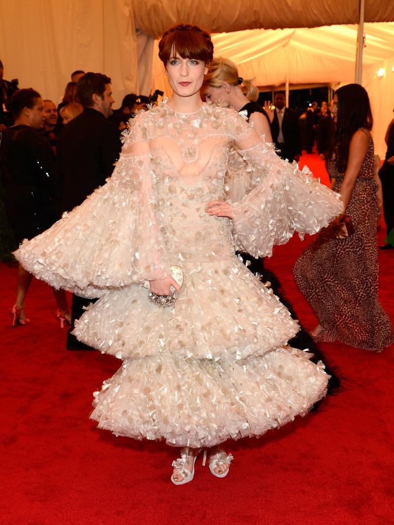"""Florence Welch in Alexander McQueen at the 2012 Met Gala """"Schiaparelli and Prada: Impossible Conversations."""" Photo by Getty Images."""