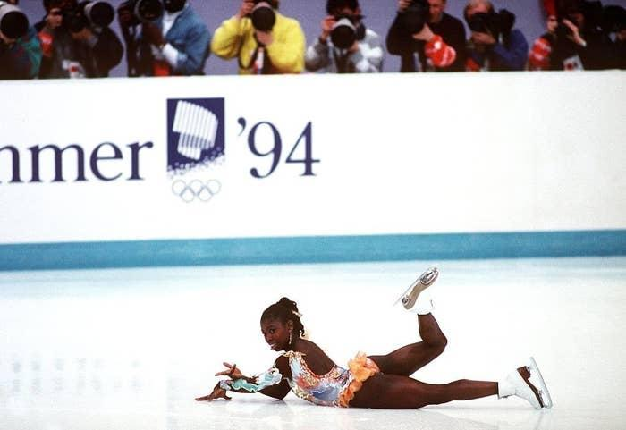 Bonaly on the ice after falling during her short program at the 1994 Games