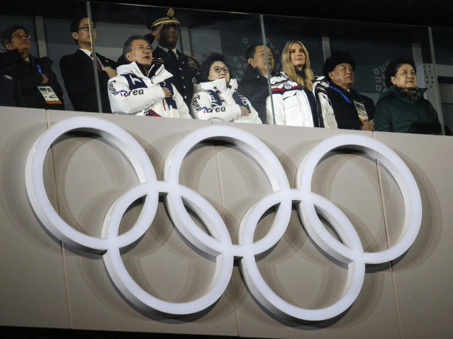 South Korean President Moon Jae-in, front left, Ivanka Trump, U.S. President Donald Trump's daughter and Kim Yong Chol, vice chairman of North Korea's ruling Workers' Party Central Committee, second right, attend the closing ceremony of the 2018 Winter Olympics in Pyeongchang, South Korea, Sunday, Feb. 25, 2018. (AP Photo/Natacha Pisarenko)