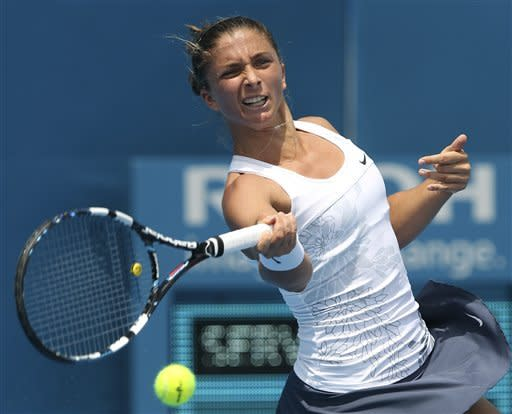 Italy's Sara Errani plays a forehand shot in her match against Russia's Maria Kirilenko at the Sydney International Tennis tournament in Sydney, Australia, Tuesday, Jan. 8, 2013. (AP Photo/Rob Griffith)