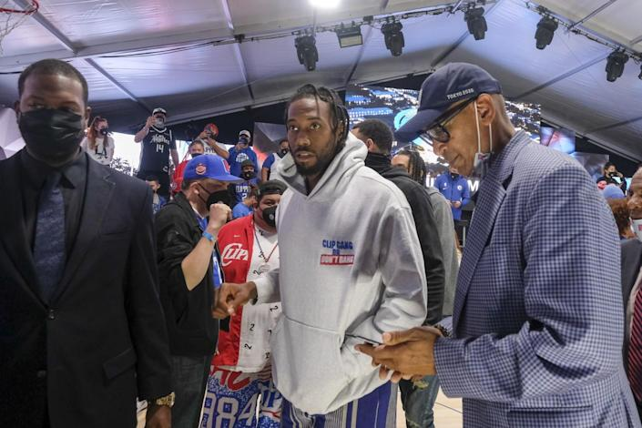 Clippers star Kawhi Leonard attends the Intuit Dome groundbreaking ceremony in Inglewood on Sept. 17.