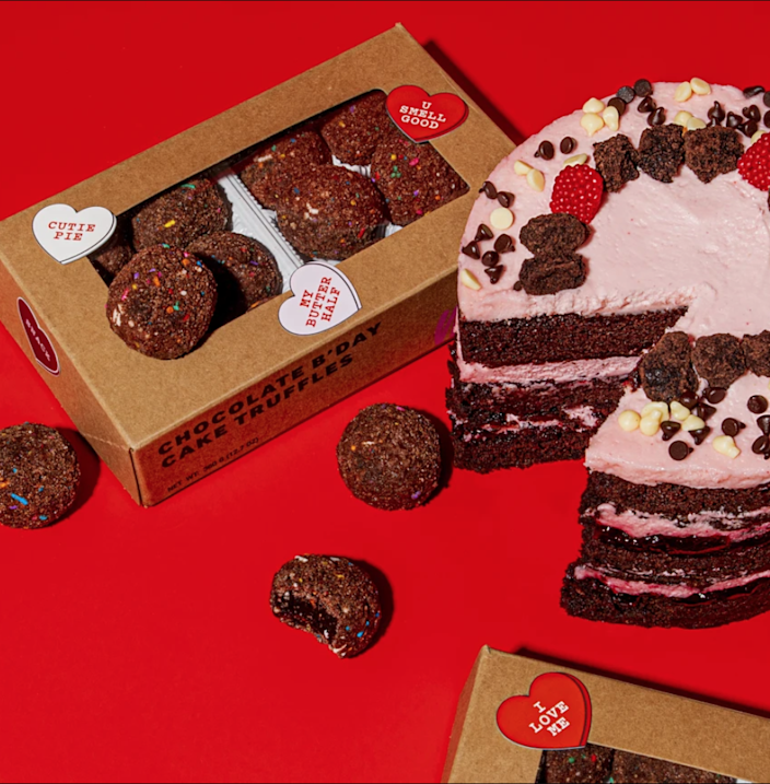 """<strong><h3><a href=""""https://milkbarstore.com/collections/valentines-day-shop/products/chocolate-lover-gift-set"""" rel=""""nofollow noopener"""" target=""""_blank"""" data-ylk=""""slk:Milk Bar Chocolate Cake & Truffles"""" class=""""link rapid-noclick-resp"""">Milk Bar Chocolate Cake & Truffles</a></h3></strong> <br>A box of chocolate is good — but a combo pack of Milk Bar's Chocolate Raspberry Jam Cake and Chocolate B'Day Cake Truffles is much better (for the both of you). <br><br><strong>Milk Bar</strong> The Chocolate Lover Gift Set, $, available at <a href=""""https://milkbarstore.com/collections/valentines-day-shop/products/chocolate-lover-gift-set"""" rel=""""nofollow noopener"""" target=""""_blank"""" data-ylk=""""slk:Milk Bar"""" class=""""link rapid-noclick-resp"""">Milk Bar</a><br>"""