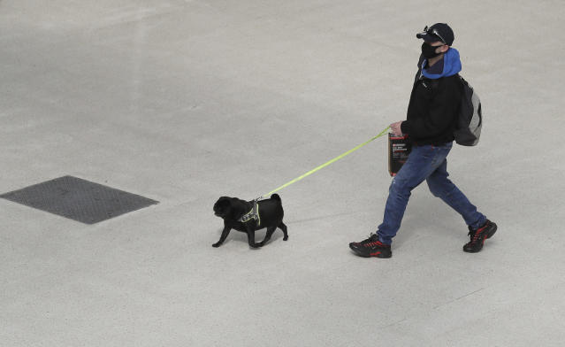 A traveler with a dog walks through a quiet Waterloo Station in London during rush hour, Wednesday, May 13, 2020, as the country continues in lockdown to help stop the spread of coronavirus. Some of the coronavirus lockdown measures are being relaxed in England on Wednesday, with those workers who are unable to work from home, such as those in construction and manufacturing, encouraged to return to work. (AP Photo/Kirsty Wigglesworth)