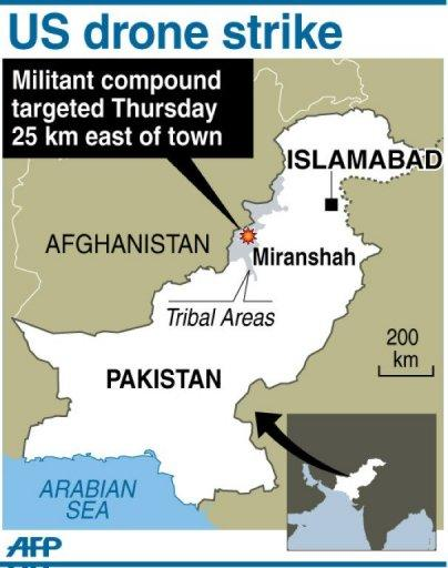 Map showing the area in Pakistan's tribal district where a US drone strike on a militant compound Thursday killed five insurgents