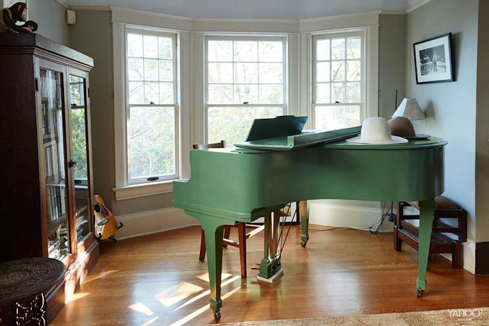 <p>We found the green piano [that's] in the living room on Craigslist. My son and stepson both love to play.</p>