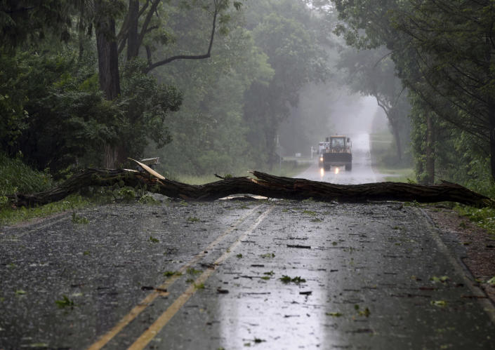 Storm damage is seen on Sandstone Road near McCain Road on Wednesday, June 10, 2020. Strong storms with heavy winds swept across Jackson County, Mich., causing power outages, downing trees and damaging property. (J. Scott Park/Jackson Citizen Patriot via AP)