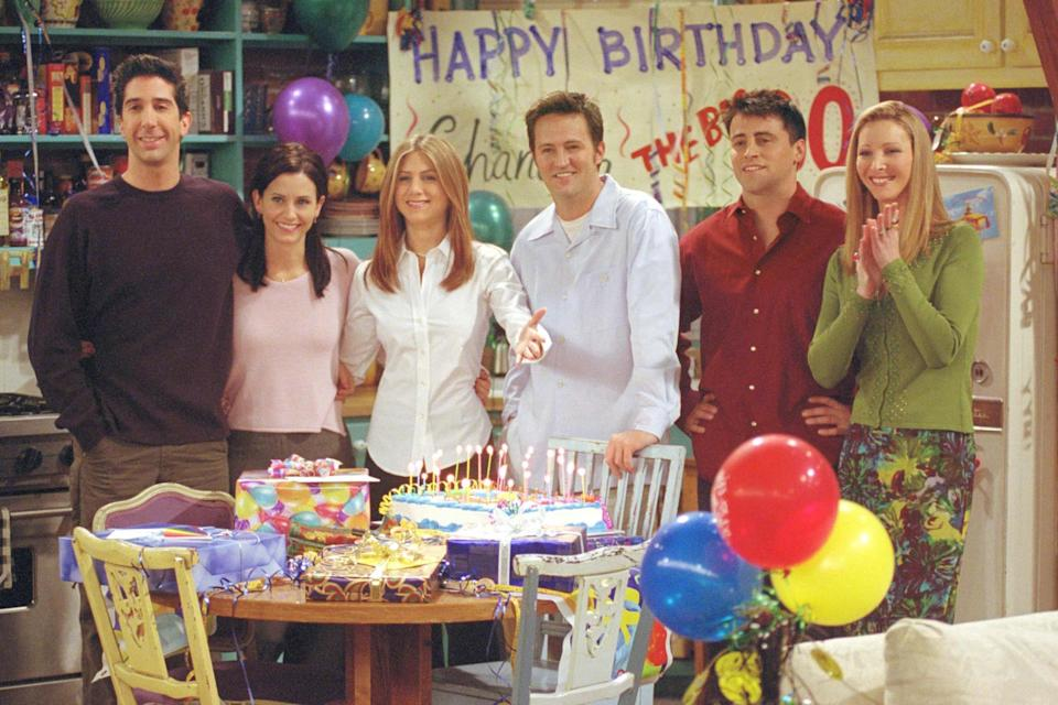 David Schwimmer, Courteney Cox, Jennifer Aniston, Matthew Perry, Matt LeBlanc and Lisa Kudrow are pictured on the set of 'The One where They All Turn Thirty', the 14th episode of the seventh episode of Friends, which aired in 2001. ((Photo by Warner Bros Television))