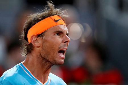 FILE PHOTO: Tennis - ATP 1000 - Madrid Open - The Caja Magica, Madrid, Spain - May 11, 2019 Spain's Rafael Nadal reacts during his semi final match against Greece's Stefanos Tsitsipas REUTERS/Susana Vera/File Photo