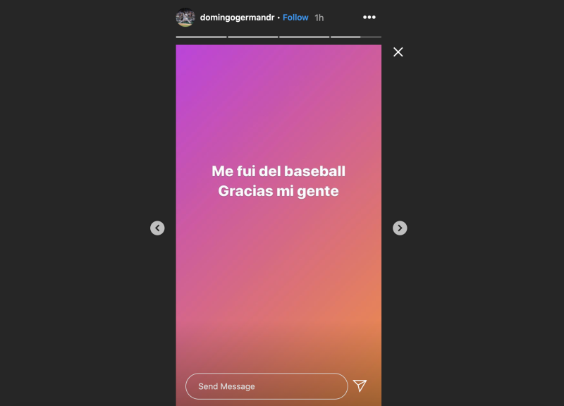 Screengrab of Domingo German's Instagram story.