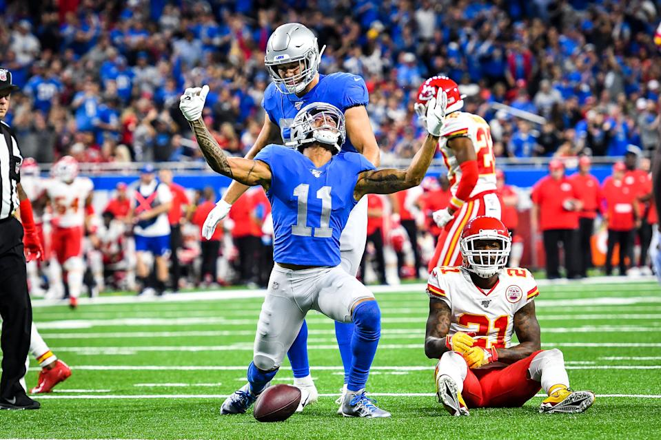 DETROIT, MI - SEPTEMBER 29: Detroit Lions wide receiver Marvin Jones (11) celebrates a long pass reception during the Detroit Lions versus Kansas City Chiefs game on Sunday September 29, 2019 at Ford Field in Detroit, MI. (Photo by Steven King/Icon Sportswire via Getty Images)