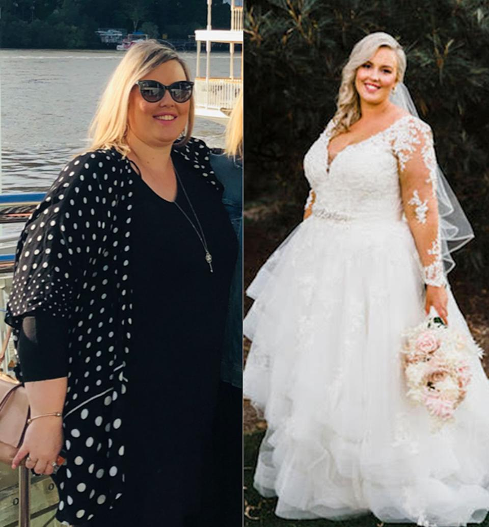 Side by side images of a woman wearing a black dress and the same woman wearing a white wedding dress