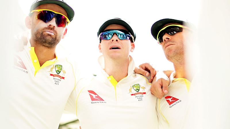 Nathan Lyon, Steve Smith and David Warner, pictured here before a Test match in 2017.