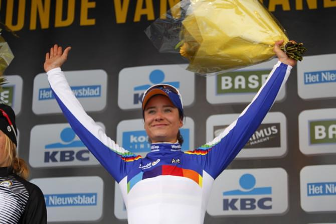 World Cup leader Marianne Vos (Rabobank Liv/Giant) on the podium as the winner of the 2013 Tour of Flanders and World Cup leader