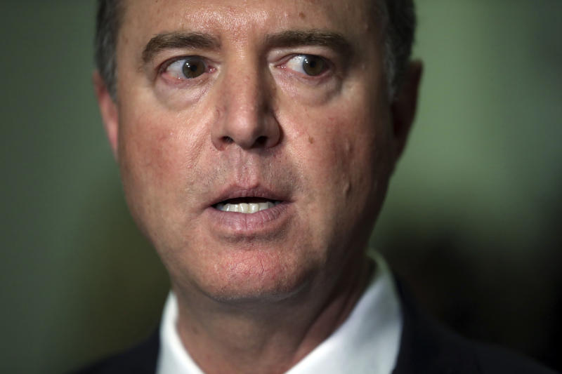 Chairman Rep. Adam Schiff, D-Calif., talks to the media after Acting Director of National Intelligence Joseph Maguire testified before the House Intelligence Committee on Capitol Hill in Washington, Thursday, Sept. 26, 2019. (AP Photo/Andrew Harnik)