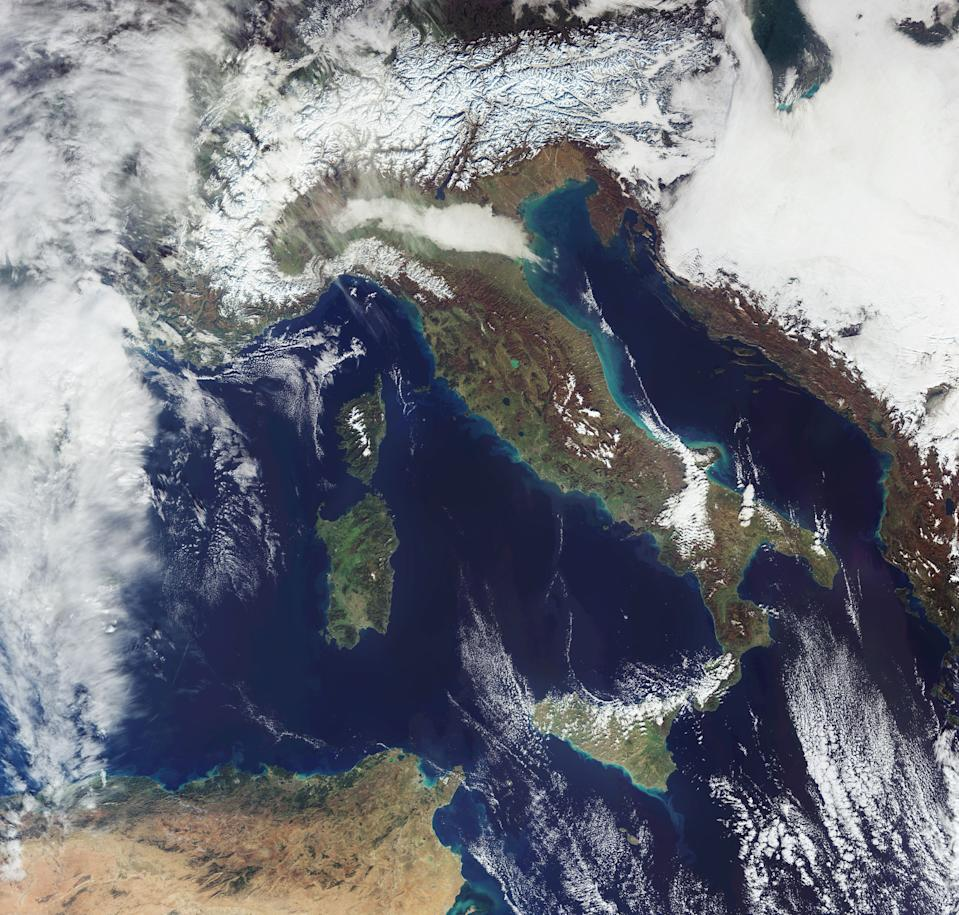 After a bout of heavy snowfall, the snow-covered Alps can be seen from space in this image snapped by the Copernicus Sentinel-3 mission. Copernicus Sentinel-3 is made up of two satellites and collects data for the European Copernicus environmental monitoring program. With this image, it captured the aftermath of two snowstorms in the Austrian and Italian Alps during which up to a collective 9.8 feet (3 meters) of snow fell.