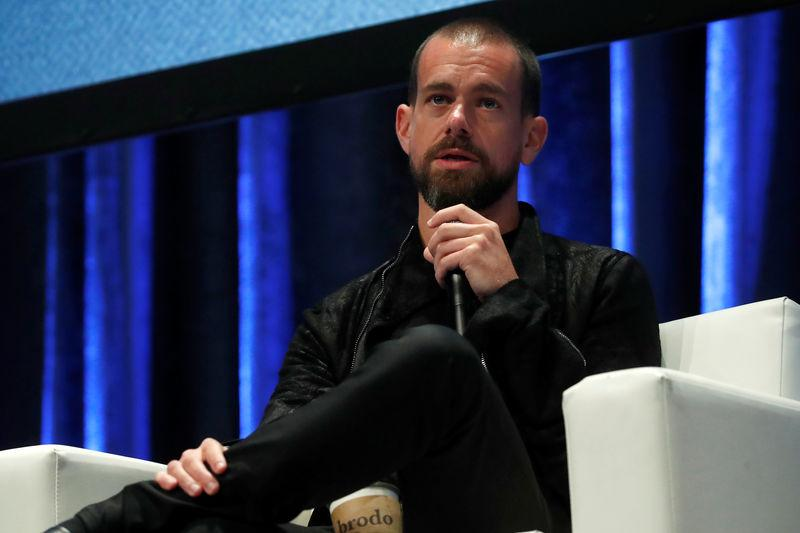 FILE PHOTO - Jack Dorsey, CEO and co-founder of Twitter and founder and CEO of Square, speaks at the Consensus 2018 blockchain technology conference in New York City