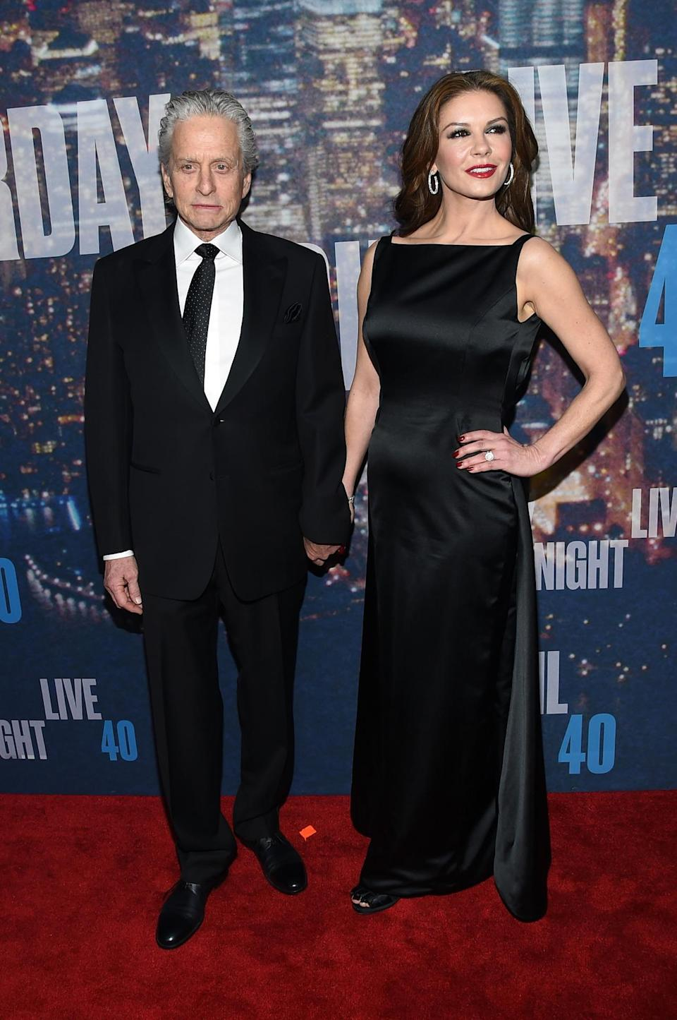 Michael Douglas and Catherine Zeta-Jones looked regal (and more like the Duke and Duchess of Cambridge than a pair of actors) on Sunday night.
