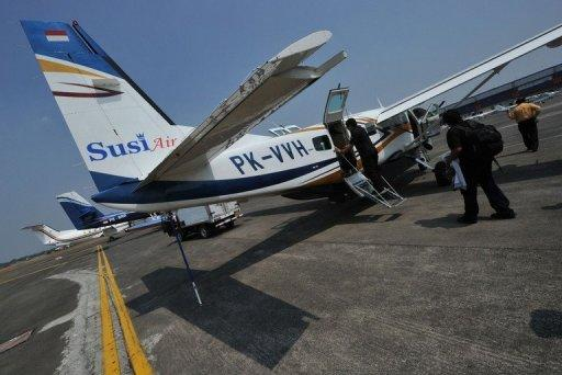 This file photo shows a Susi Air Cessna C208B Grand Caravan aircraft, pictured at an airport in Jakarta, in 2011. A Susi Air Cessna aircraft on Thursday crashed in Indonesia's East Kalimantan province killing two people, one of them an Australian, according to an official