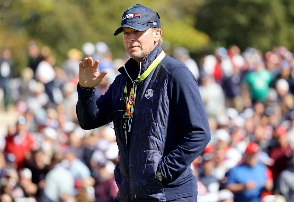 U.S. Ryder Cup team captain Steve Stricker acknowledges fans on the first hole during the 43rd Ryder Cup at Whistling Straits.