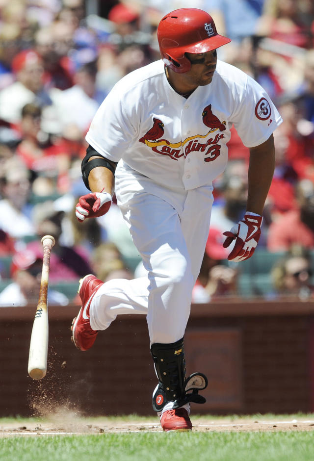 St. Louis Cardinals' Carlos Beltran singles against the Chicago Cubs in the first inning in a baseball game on Sunday, Aug. 11, 2013, at Busch Stadium in St. Louis. (AP Photo/Bill Boyce)