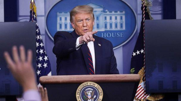 PHOTO: President Donald Trump points to a reporter for a question during a coronavirus disease (COVID-19) response news briefing at the White House, July 21, 2020. (Leah Millis/Reuters)