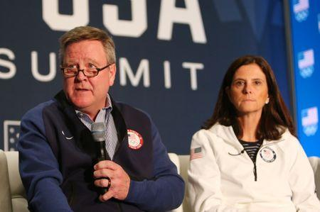 Sep 25, 2017; Park City, UT, USA; USOC chief executive officer Scott Blackmun and chief marketing officer Lisa Baird during the 2018 U.S. Olympic Team media summit at the Grand Summit Hotel. Mandatory Credit: Jerry Lai-USA TODAY Sports