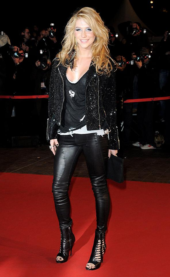"""NRJ newcomer Ke$ha (""""Tik Tok"""") dressed down for the awards show but still managed to look fierce in a sequined jacket, skin-tight leather pants, and the hottest gladiator heels we've ever seen! Pascal Le Segretain/<a href=""""http://www.gettyimages.com/"""" target=""""new"""">GettyImages.com</a> - January 23, 2010"""