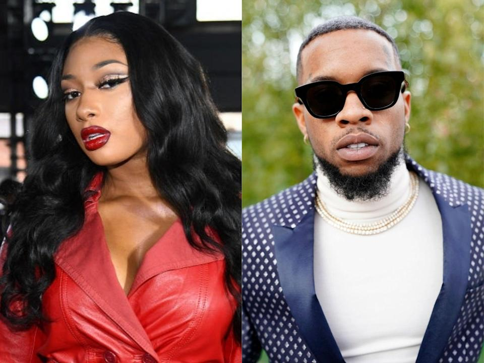 Megan Thee Stallion and Tory Lanez, who has been charged with shooting her (Dimitrios Kambouris/Erik Voake/Getty Images)